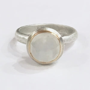 Silver, 18ct gold and moonstone ring