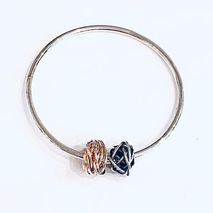 Silver and gold detail knotty bangle