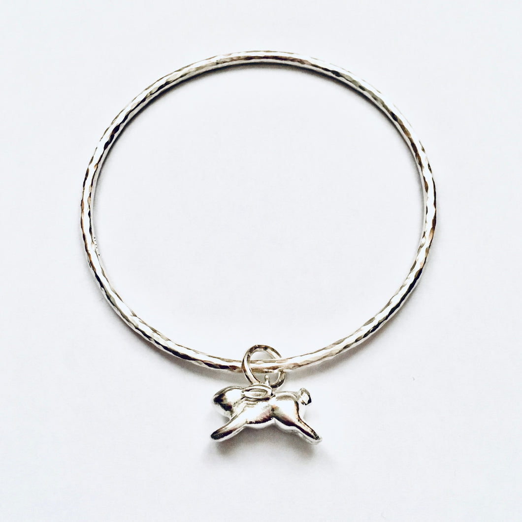 Silver running hare bangle