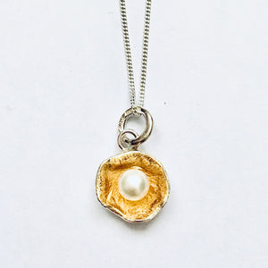 Silver and gold leaf pearl pendant