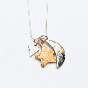 Silver and gold detail heart, star and moon pendant