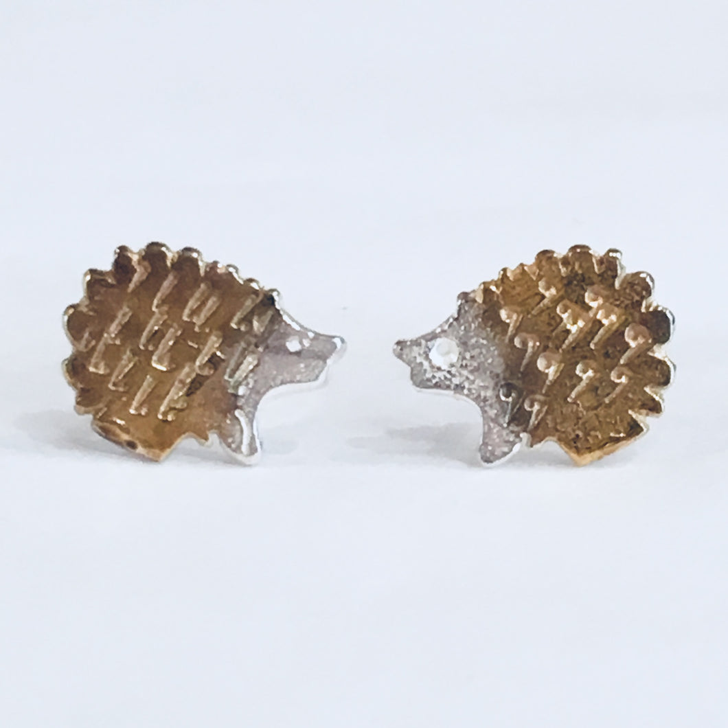 Silver and gold detail hedgehog earrings