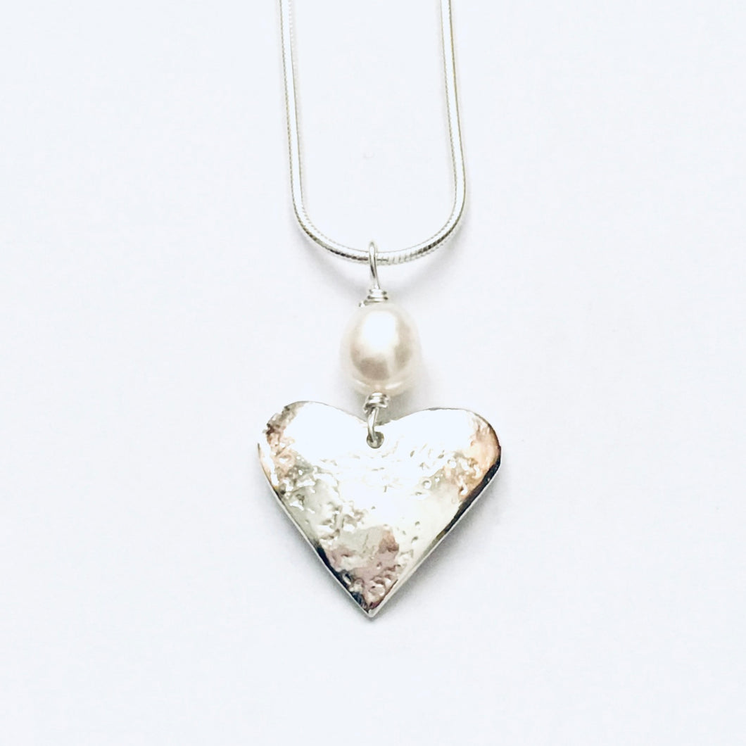 Silver and freshwater pearl heart pendant