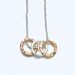 Silver and gold vermeil circles pendant