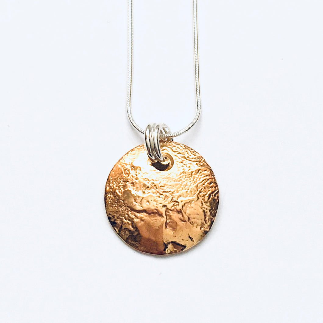 Silver and 18ct gold vermeil disc pendant