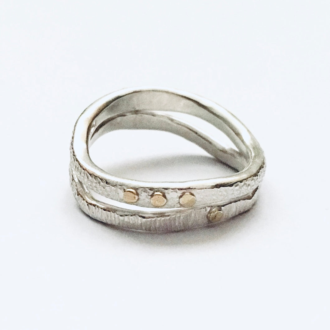 Silver and 18ct gold ring