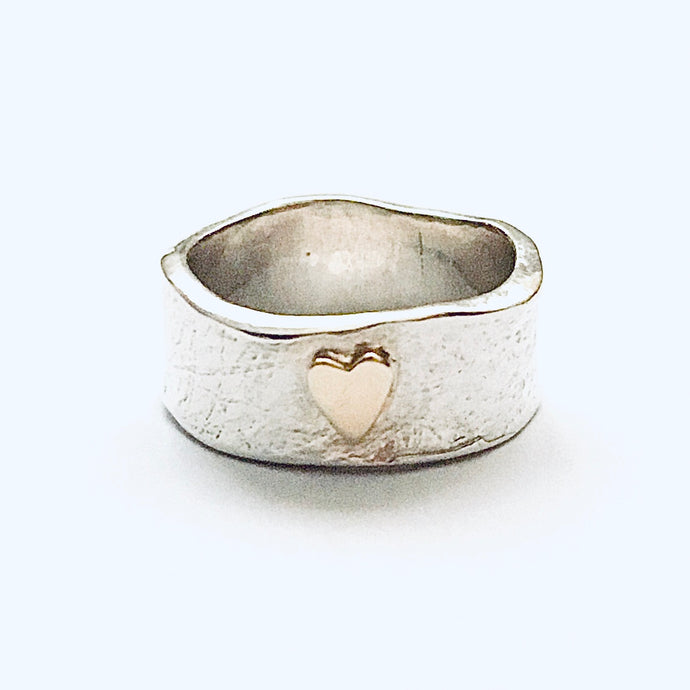 Silver and 9ct gold heart ring