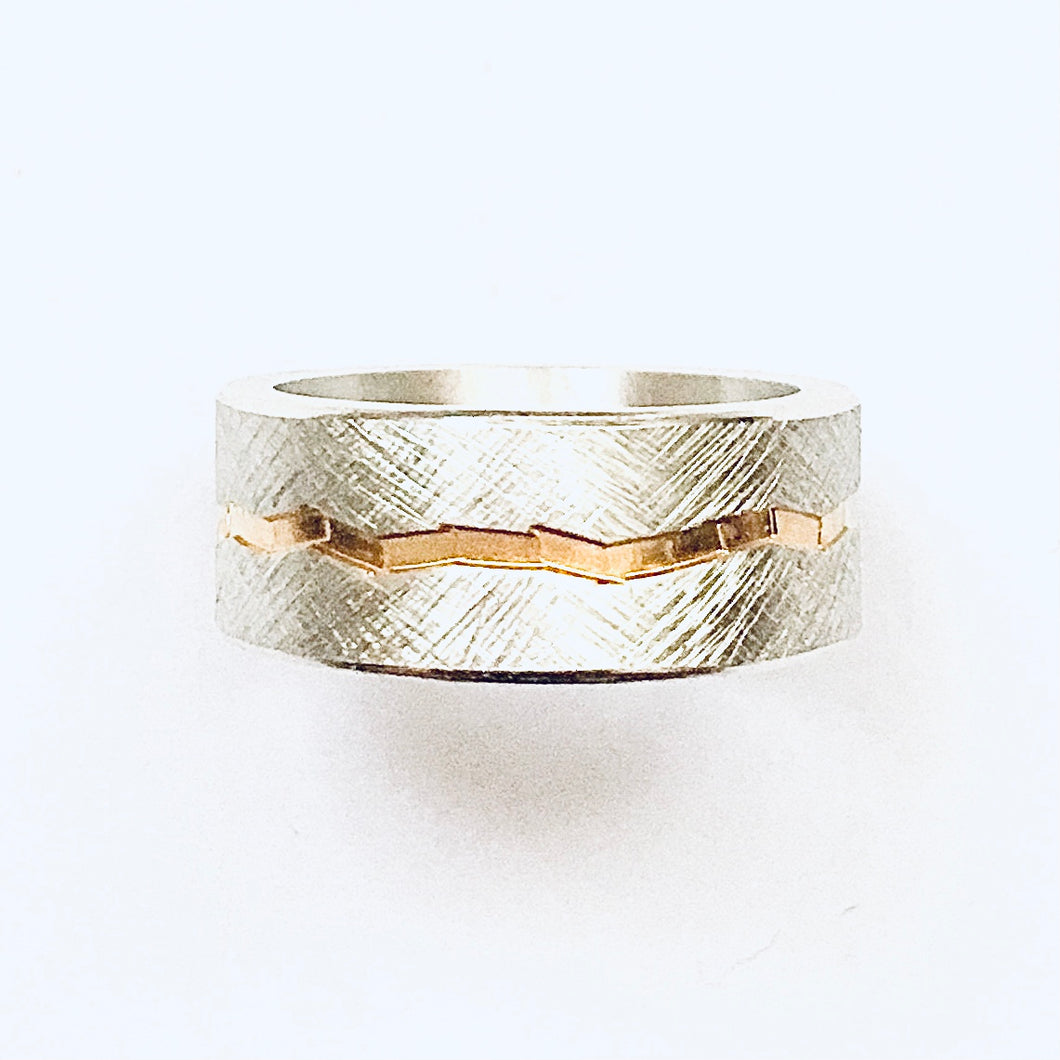 Silver and gold detail ring