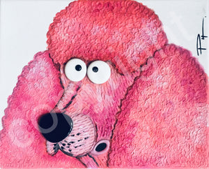 """Pretty Pink Poodle"" original art canvas"