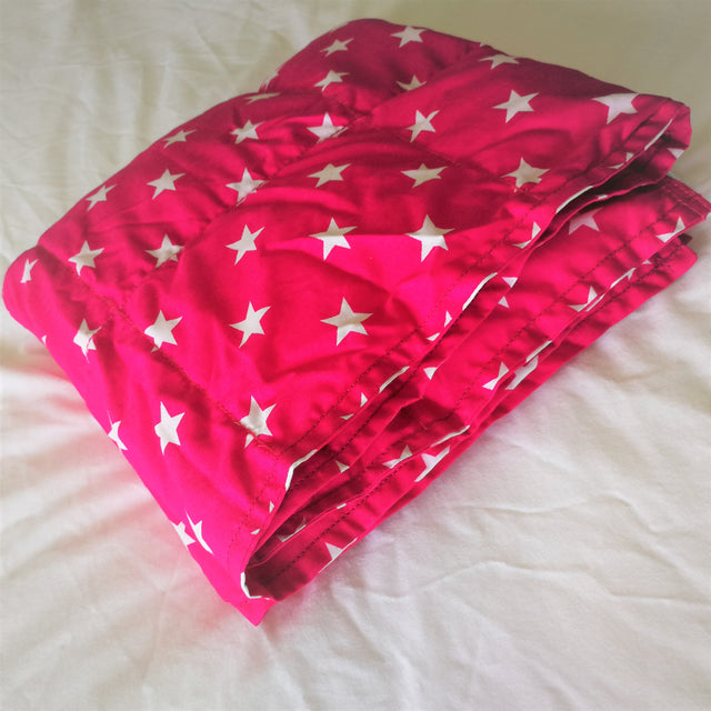 Sensory weighted blankets. Pink stars cotton.