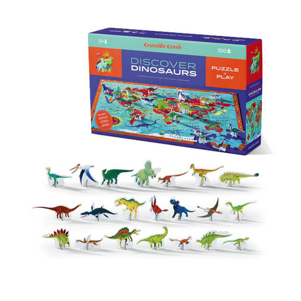 Challenge your kids to put together this 100 piece, beautiful dinosaur jigsaw from Crocodile Creek! Includes a fact book and 21 stand-up Learn & Play dinosaurs.   Complete the puzzle and find and identify all the different dinosaurs using the fact book. Dinosaurs are named and colour-coded by continent on the back. Play with the stand-up dinosaurs, many of which also feature in the jigsaw border for Seek & Find games.