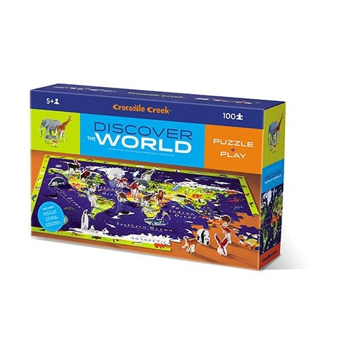 Challenge your kids to put together this 100 piece, beautiful world map jigsaw from Crocodile Creek! Includes a fact book and 21 stand-up Learn & Play animals.  Complete the puzzle and find and identify all the different animals using the fact book. Animals are named and colour-coded by continent on the back. Play with the stand-up animals, many of which also feature in the jigsaw border for Seek & Find games.