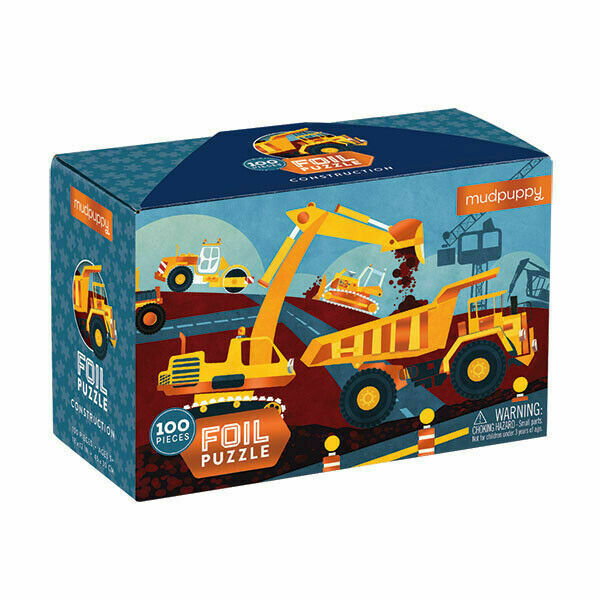 Children will love the shiny foil embellished illustration of a busy construction site on the Construction Foil Puzzle from Mudpuppy. This 100 piece puzzle comes in a sturdy box that is also embellished with foil! Complete the puzzle to create images of diggers, tractors and more! This puzzle is a perfect gift for children ages 5 and up.