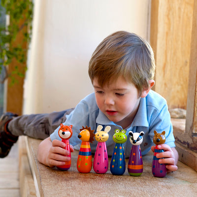 These adorable woodland toy skittles are the perfect traditional wooden toy! These cute and colourful children's skittles are the perfect size for indoor play, and will provide hours of fun for your little ones.
