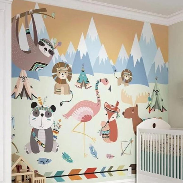 Create a stunning feature wall in your home with the animal reservation wall mural.  Imagine what fun it would be to go camping with all your favourite animals.