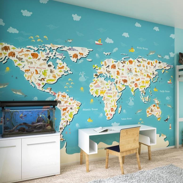Animals of the world map wall mural. Travel through continents and swim through oceans whilst discovering the wonders of the world. Join your little ones as they soak in all that nature has to offer.