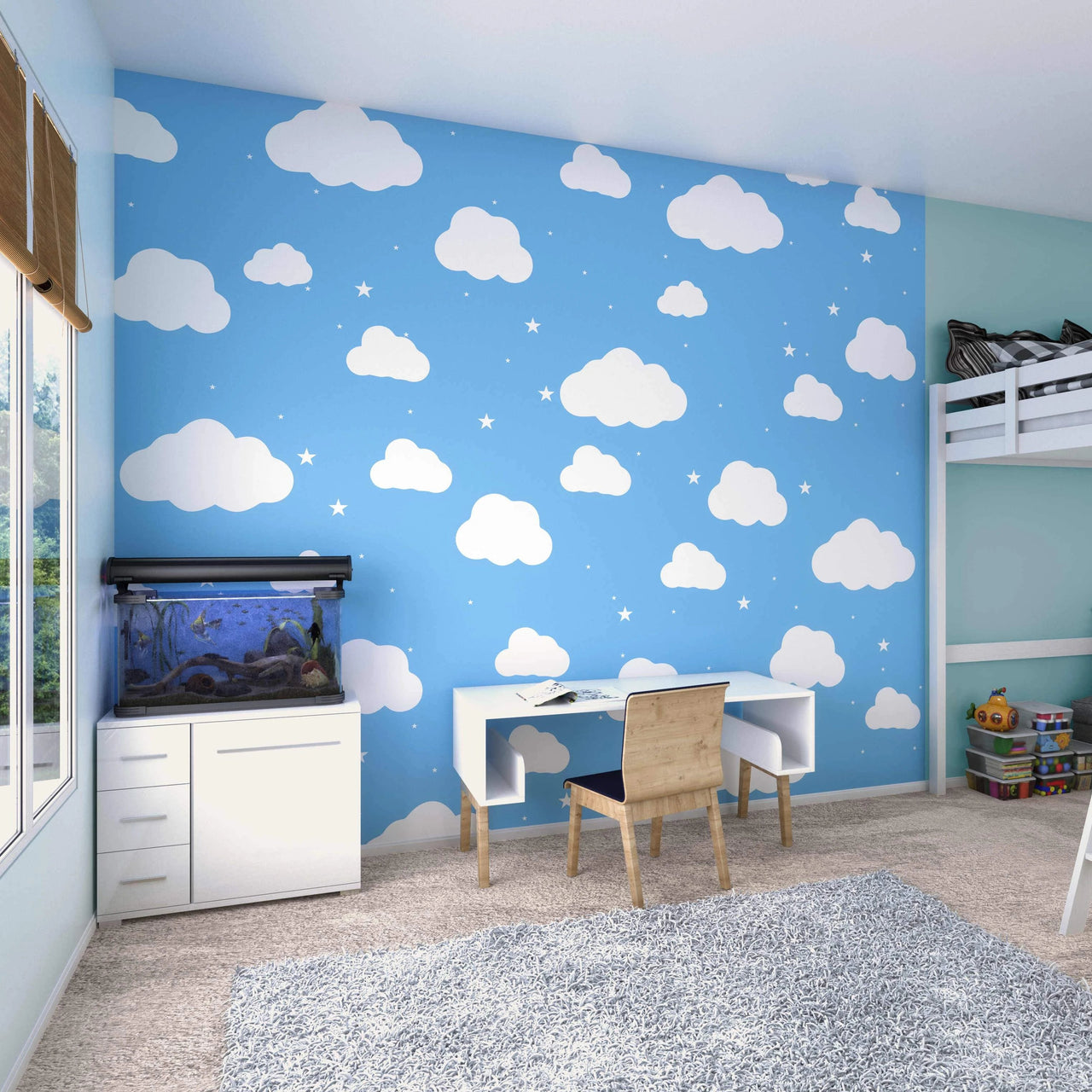 Who said a child's room can't be stylish? Our Cartoon Cloudy Sky Wall Mural is a playful yet super modern design featuring white clouds gently floating on a toned blue background. The minimal nature of this design means it can be matched perfectly with any furniture for your little ones.