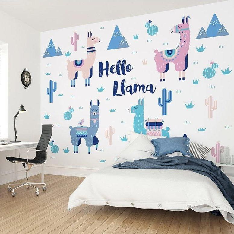 Bring a refreshing aspect of fun to your space with the Hello Llama Wall Mural.  The use of harmonious blues and pinks on a white background will open up your interior and bring a light and bright feel to your home.