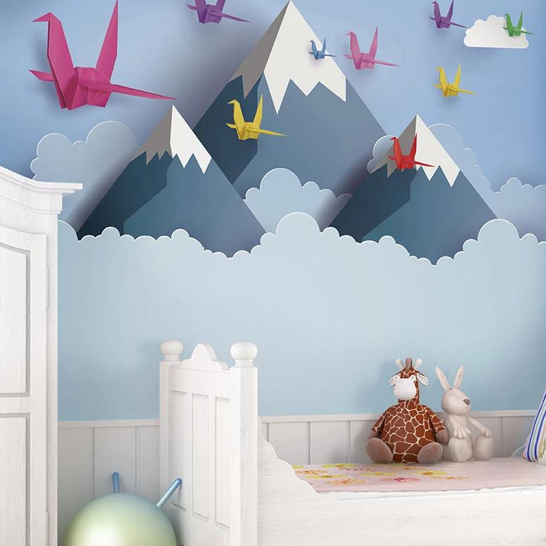 Origami mountains wall mural.Flying over the snowy mountains and turning your room into an incredible scenic experience.