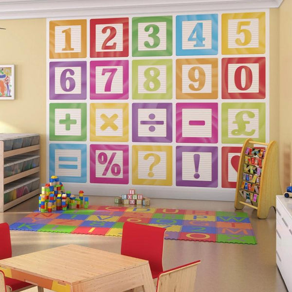 Number blocks wall mural. Count on us to help you bring your children's walls alive with this colourful numeral design. Make your child's wall both educational and fun with this mural.