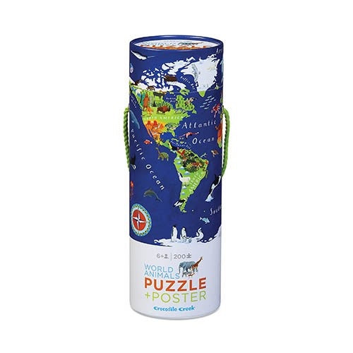 Challenge your kids to put together this 200 piece, beautiful world animal jigsaw from Crocodile Creek! When completed, the puzzle will depict a colourful world map with animals placed on their specific continents, countries and oceans. The same image is on the poster which makes putting the puzzle together easier. When puzzle is not in use, stores easily in sturdy cardboard cylinder with rope handle.