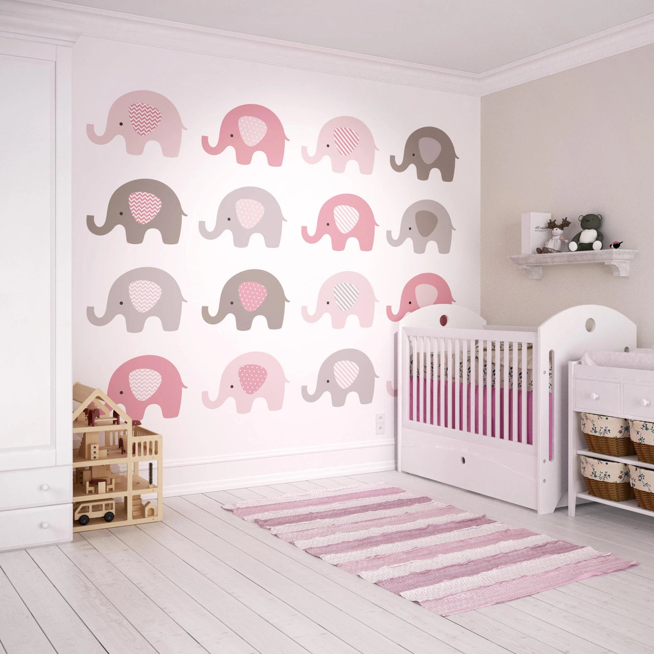The elephants have come out to play in our Baby Pink Elephant wall mural. A cute cartoon illustration perfect for creating a charming feature wall in a nursery or playroom. Its colour palette of baby pinks and greys will create an adorably stylish space for little ones to grow and learn.