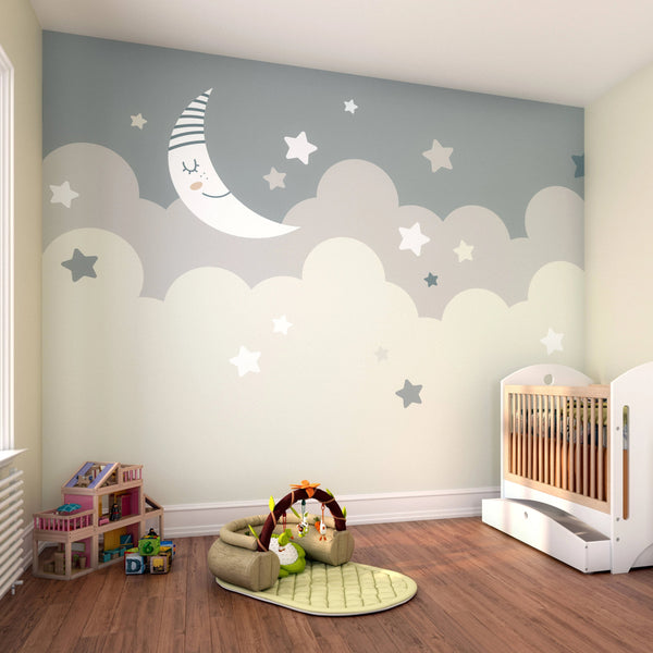 Create a charming and calming space in your baby's nursery with this unique Nighttime Children's Sky wall mural. This adorable mural features large clouds sptinkled with tiny stars, and a sleepy crescent moon in a soft neutral colour palette.