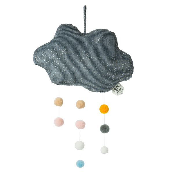 Brighten up any room with this sparkly grey corduroy hanging cloud by Picca Loulou, complete with multicoloured pompoms. Hang over a cot or baby changing mat to amaze and calm your little one.