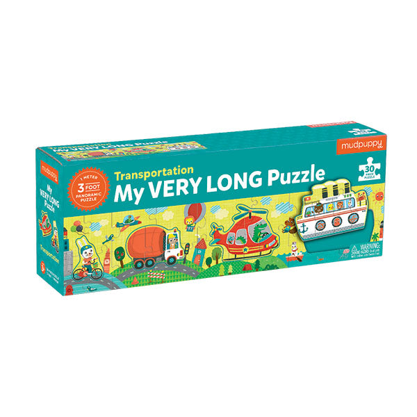 This unique puzzle is 3 feet long and features all kinds of vehicles! The Transportation My Very Long Puzzle from is a 30 piece puzzle, which includes 4 shaped puzzles that fit into a panoramic scene.