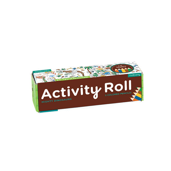 Fun Dinosaur Theme - Each section on the roll of activity paper contains dinosaur drawings and dinosaur themed puzzles, which kids who are crazy about dinosaurs will love.