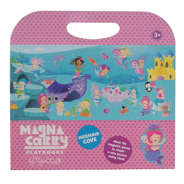 Bring your own underwater paradise to life with the Mermaid Cove Magna Carry. Filled with beautifully illustrated ocean creatures and mermaids, of course!   There's so much fun to be had with this fold-out double-sided play scene and 2 sheets of magnets.