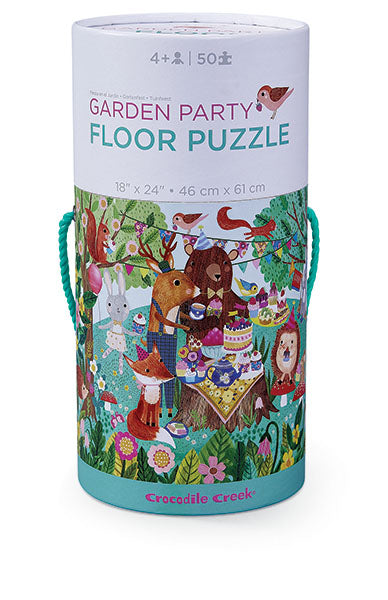 The Garden Party Floor Puzzle by Crocodile Creek  includes bold colored artwork with elaborate detailed scenes that creates hours of engaged play.