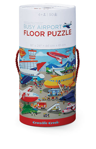 This Busy Airport floor puzzle with bold colored artwork with elaborate detailed scenes that creates hours of engaged play.