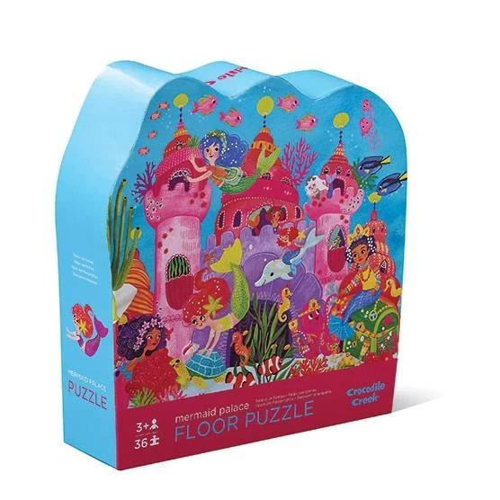 This 36 piece floor puzzle shows a scene of pretty mermaids and their sea animal friends outside the Mermaid Palace.