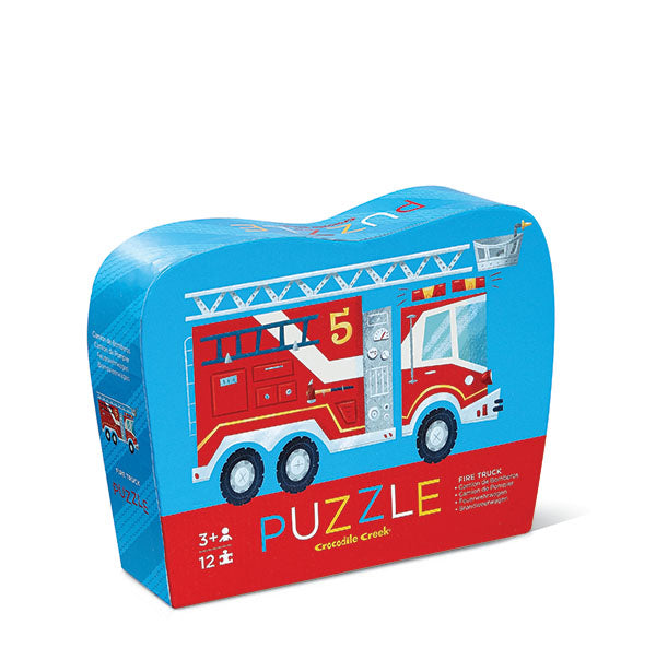 Fire Truck 12 piece Mini Puzzle. A perfect first puzzle for any toddler! Twelve thick puzzle pieces that are easy for little hands to put together.