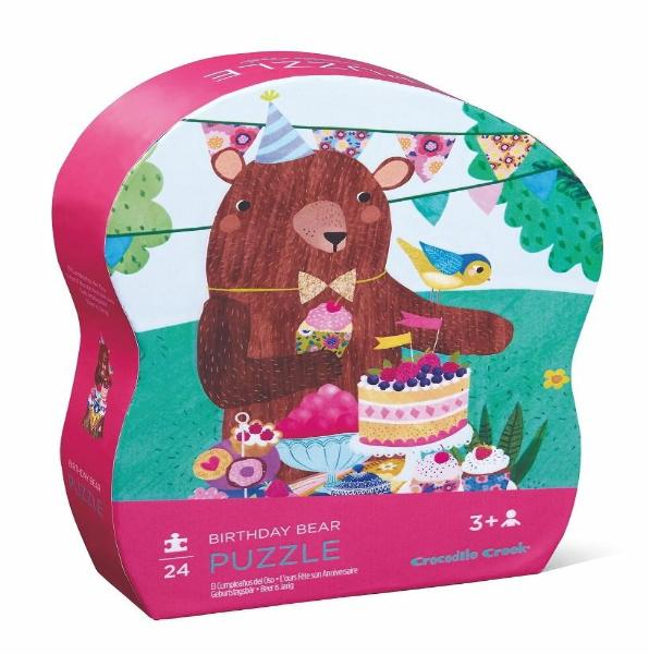 Birthday Bear 24 piece puzzle. Sturdy recycled cardboard pieces printed with soy-based inks stored in a reusable shaped box makes this puzzle perfect for travel or home.