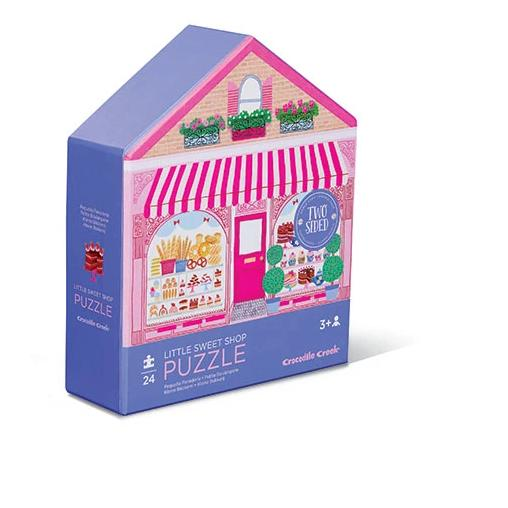 Inside! Outside! This house-shaped, two-sided environment puzzle series features scenes from a charming Bakery.