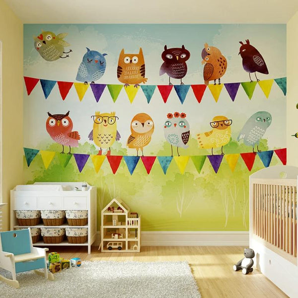 Create a stunning feature wall in your home with the birds of a feather wall mural.