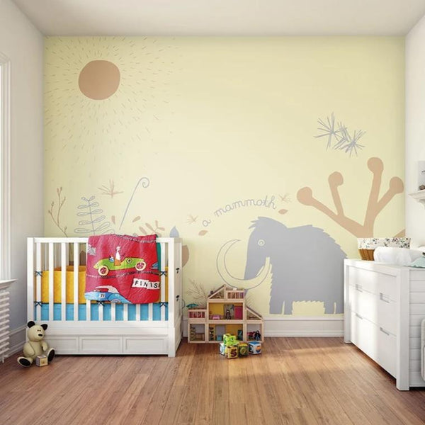 Bring your child's wall to life with this fun prehistoric woolly mammoth wall mural.