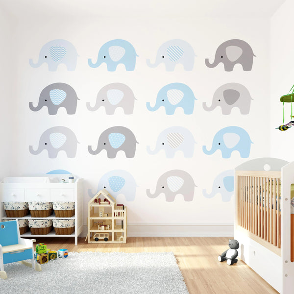 Baby Blue Elephant Wall Mural - Rooms for Rascals, a Leafy Lanes Retailers Ltd business
