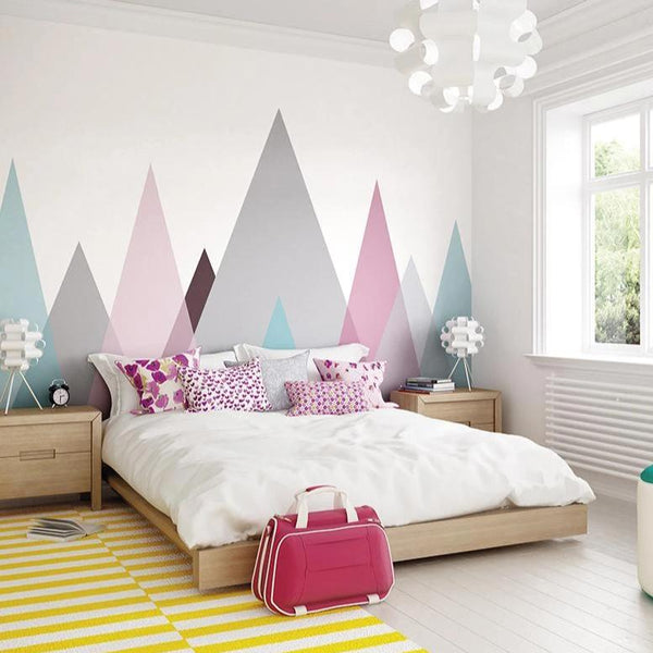 Get the sophisticated Scandinavian look with the Landscape Art wall mural. the green, pink and grey paint effect will bring you back to nature with its organic vibe and earthy tones. Beautifully designed with geometric triangles reminiscent of Nordic mountainous peaks.