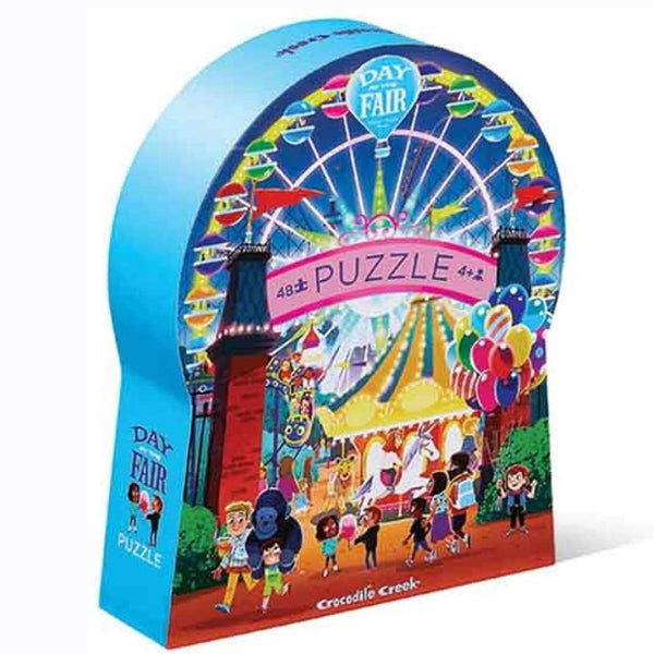 The Day at the Fair 48 piece puzzle from Crocodile Creek will transport you to a fun filled day at the carnival. This observation puzzle features lots of activities that are happening at the fair, including a ferris wheel, a carousal and lots of kids having a blast!