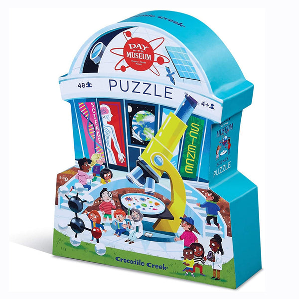 The Day at the Museum Science 48 piece puzzle from Crocodile Creek will transport you to a fun filled day at the Museum. This observation puzzle features lots of experiments that are happening at the museums and lots of kids having a blast!