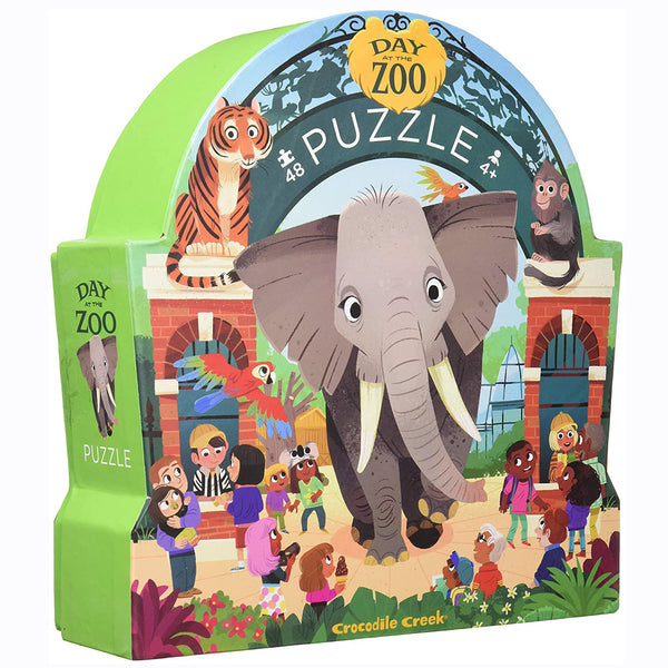 The Day at the Zoo 48 piece puzzle from Crocodile Creek will transport you to a fun filled day at the Zoo. This observation puzzle features lots of strange and humorous things that are happening at this zoo!