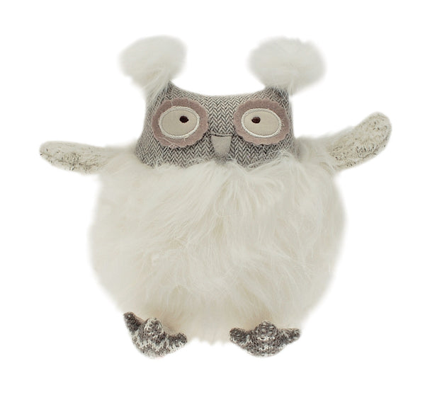 Oswald Owl soft toy has a long-pile fur body and a large flat bottom with knitted feet so that he can sit by himself.