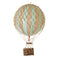 Small mint hot air balloon which comes complete with a rattan basket hanging from hand-knotted netting.