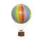 Small rainbow hot air balloon which comes complete with a rattan basket hanging from hand-knotted netting.