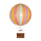 Small pastel rainbow hot air balloon which comes complete with a rattan basket hanging from hand-knotted netting.