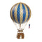 Large blue hot air balloon which comes complete with a rattan basket hanging from hand-knotted netting.
