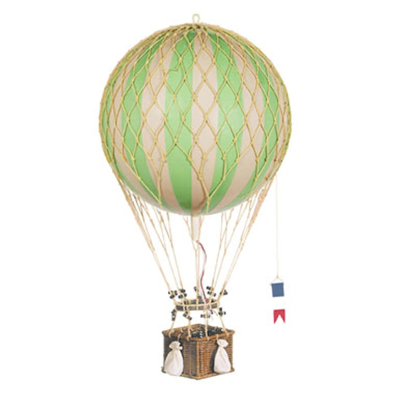 Large green hot air balloon which comes complete with a rattan basket hanging from hand-knotted netting.